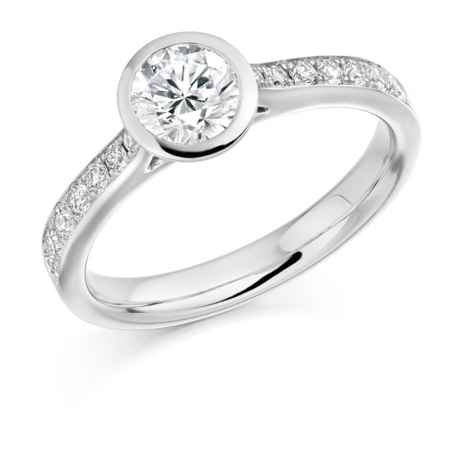 Lance James Wedding & Eternity 18ct White Gold 0.80ct Rubover Engagement Ring