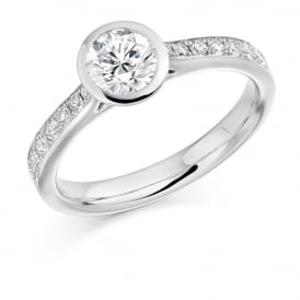 18ct White Gold 0.80ct Rubover Engagement Ring