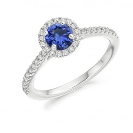 18ct White Gold 0.85ct Blue Sapphire & Diamond Cluster Ring