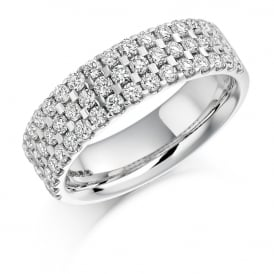 18ct White Gold 1.05ct Diamond Micro Claw Eternity Ring