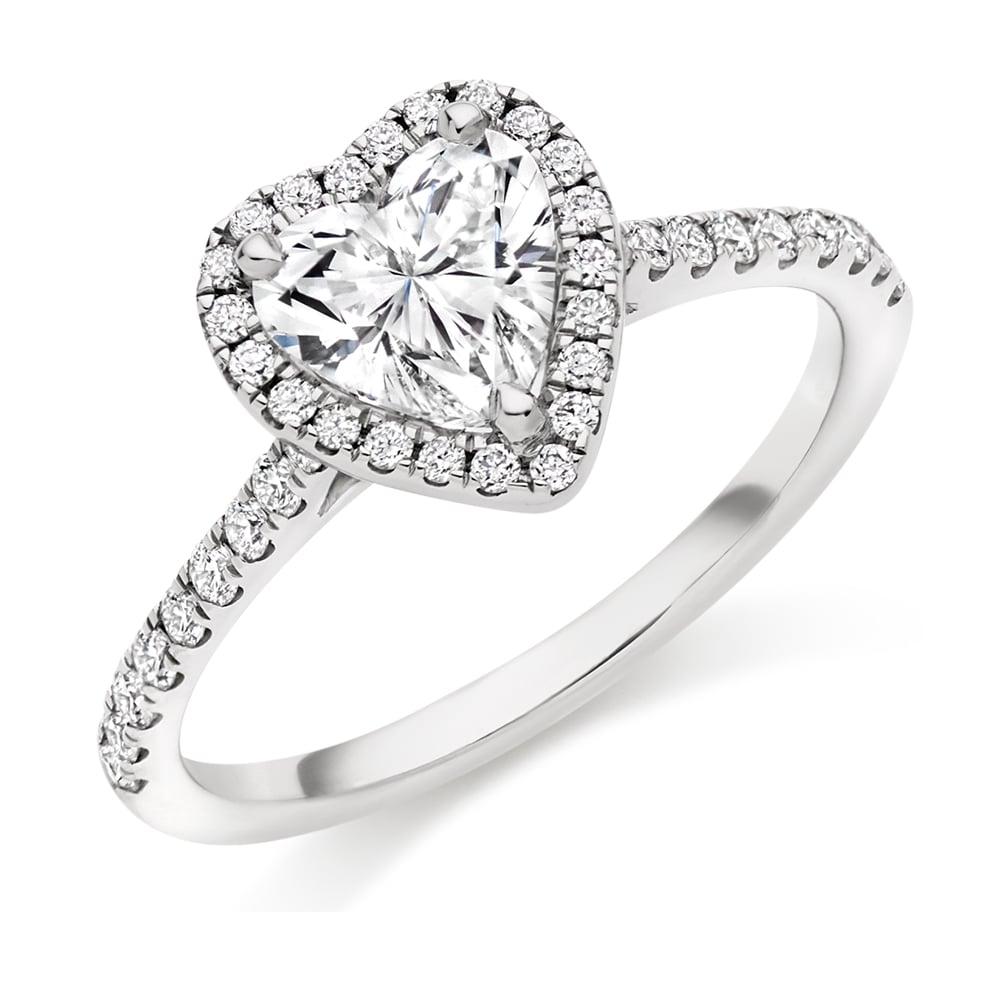 18ct White Gold 135ct Heart Cut Diamond Engagement Ring