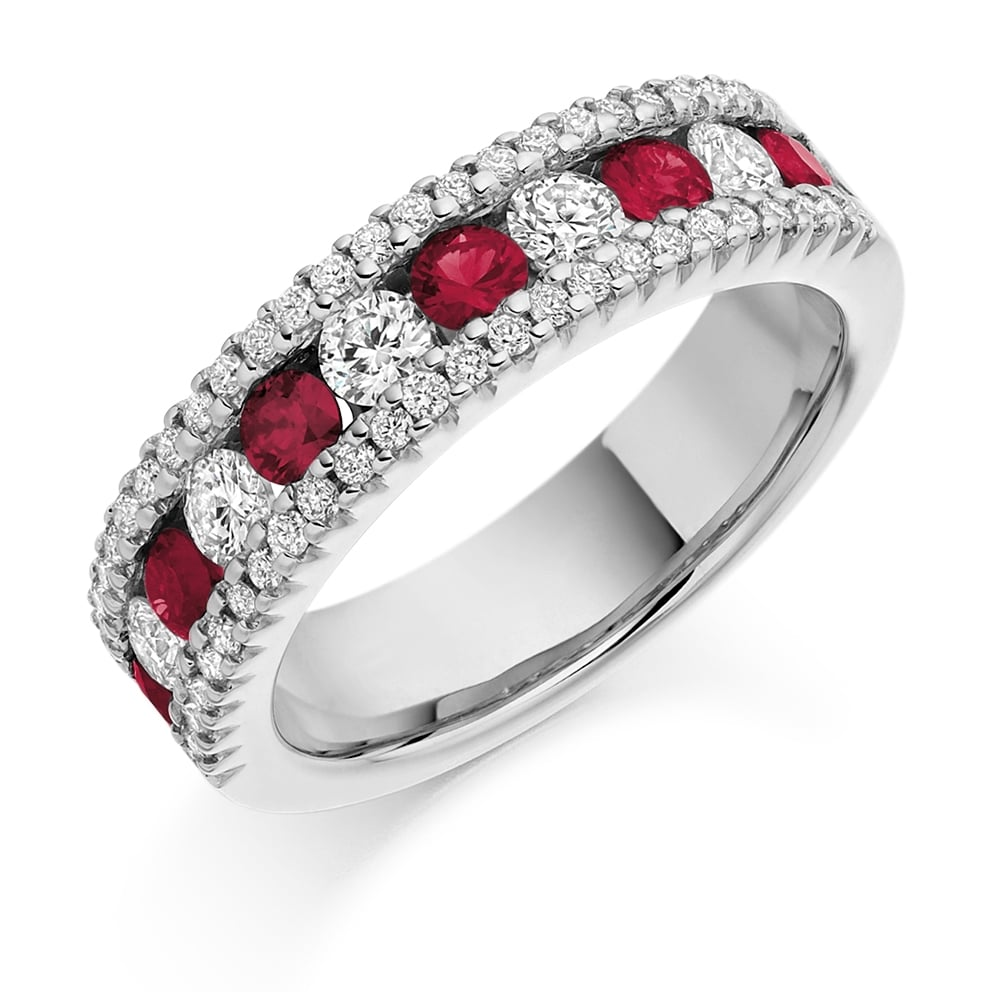 Ct White Gold Ruby And Diamond Eternity Ring