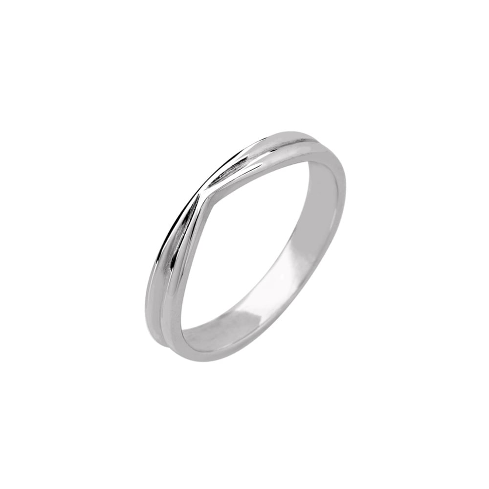 18ct White Gold 3mm V Shaped Wedding Ring