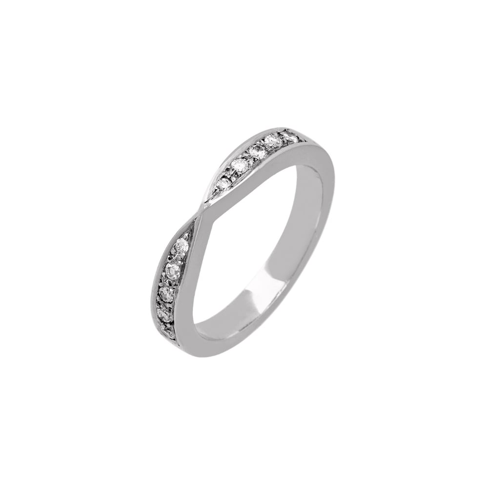 Lance James Wedding & Eternity 18ct White Gold Bow Shaped 0 17ct Diamond  Wedding Ring