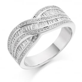 18ct White Gold Curved Grain Set 0.80ct Diamond Ring