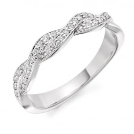 18ct White Gold Curved Half Set 0.22ct Diamond Eternity Ring