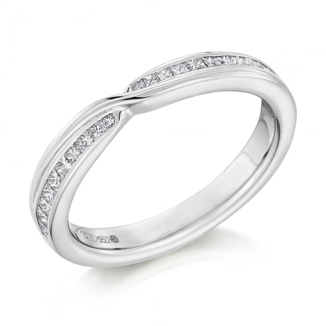 Lance James Wedding & Eternity 18ct White Gold Curved & Shaped 0.33ct Diamond Wedding Ring