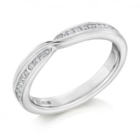 18ct White Gold Curved & Shaped 0.33ct Diamond Wedding Ring