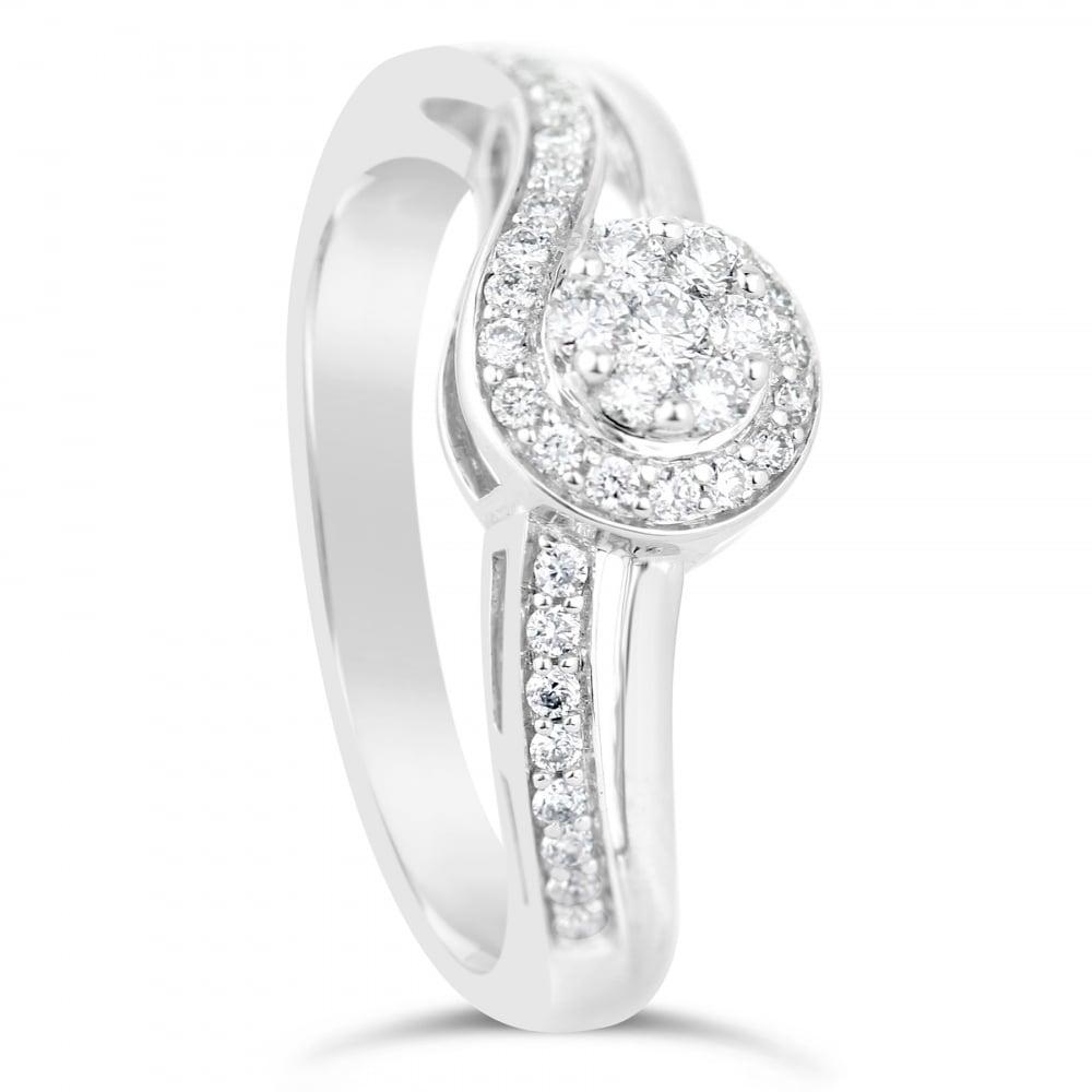 18ct white gold set swirl engagement ring