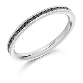 18ct White Gold Fully Set 0.33ct Black Diamond Eternity Ring