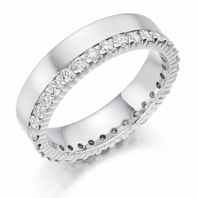 Lance James Wedding & Eternity 18ct White Gold Fully Set 1.00ct Offset Diamond Ring