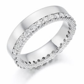 18ct White Gold Fully Set 1.00ct Offset Diamond Ring