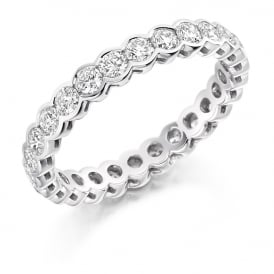 18ct White Gold Fully Set 1.50ct Rubover Diamond Ring
