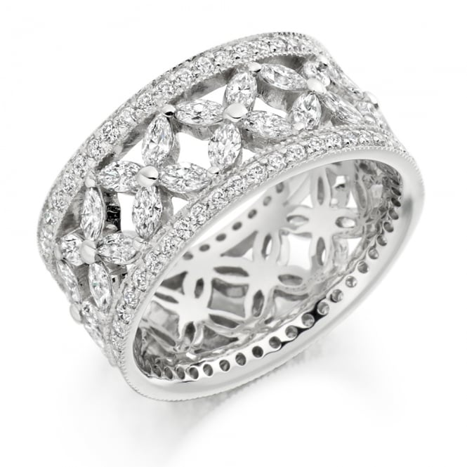 Lance James Wedding & Eternity 18ct White Gold Fully Set Patterned 2.80ct Diamond Ring