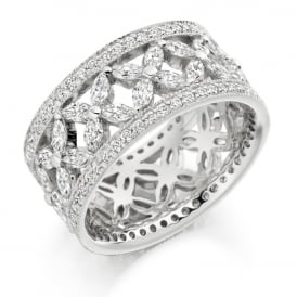 18ct White Gold Fully Set Patterned 2.80ct Diamond Ring
