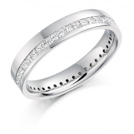 18ct White Gold Fully Set Princess Cut 1.00ct Eternity Ring