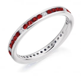 18ct White Gold Fully Set Ruby & Diamond Eternity Ring