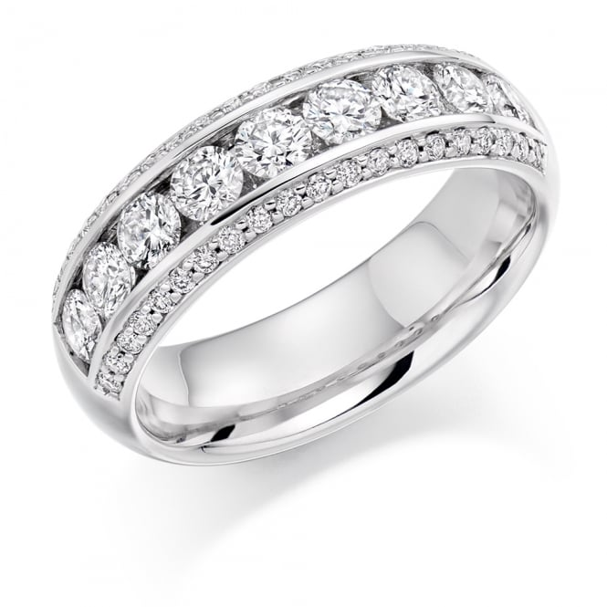 Lance James Wedding & Eternity 18ct White Gold Half Set 1.25ct Brilliant Diamond Row Ring