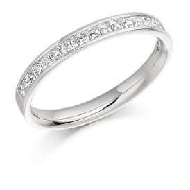 18ct White Gold Half Set Princess Cut 0.50ct Diamond Ring