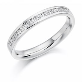 18ct White Gold Half Set Round & Baguette 0.25ct Diamond Ring