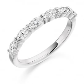 18ct White Gold Marquise Cut 0.60ct Diamond Ring