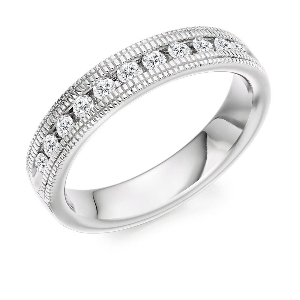 18ct White Gold Vintage Style Milgrain 0 55ct Diamond Ring