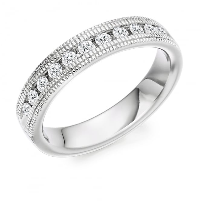 Lance James Wedding & Eternity 18ct White Gold Vintage Style Milgrain 0.55ct Diamond Ring