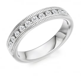 18ct White Gold Vintage Style Milgrain 0.55ct Diamond Ring