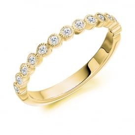18ct Yellow Gold 0.25ct Rubover Set Diamond Ring
