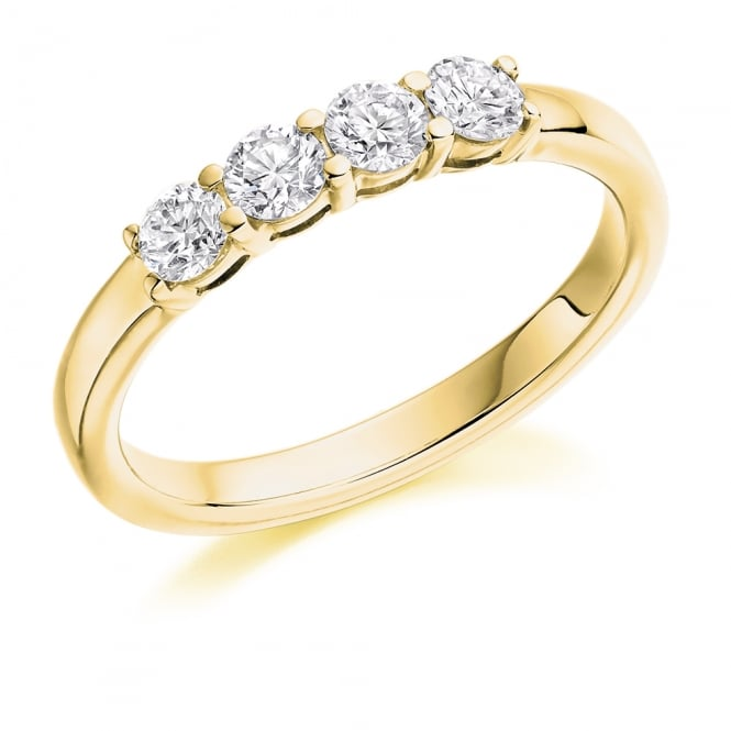 Lance James Wedding & Eternity 18ct Yellow Gold 0.50ct Four Stone Half Set Eternity Ring