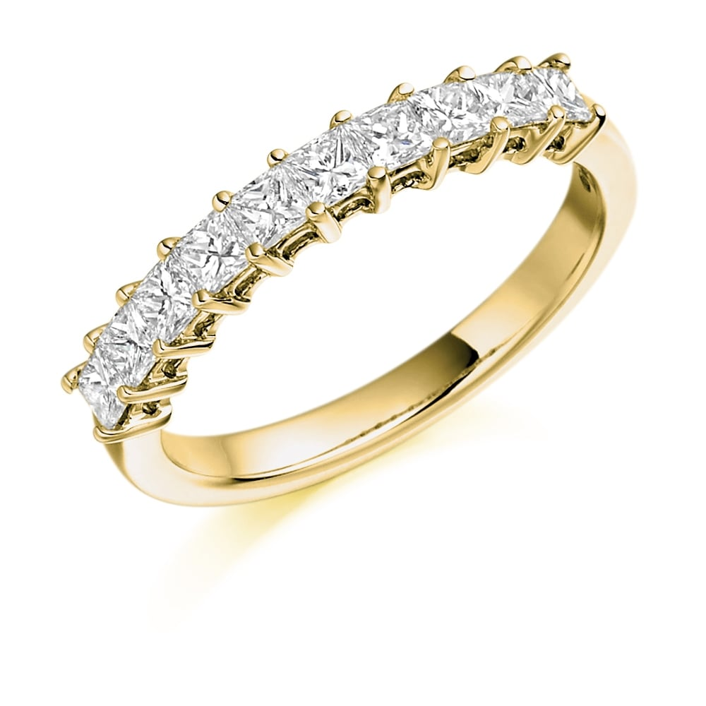 18ct Yellow Gold 0.78ct Princess Cut Diamond Eternity Ring