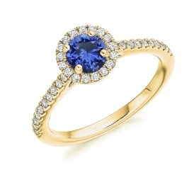 18ct Yellow Gold 0.85ct Blue Sapphire & Diamond Cluster Ring