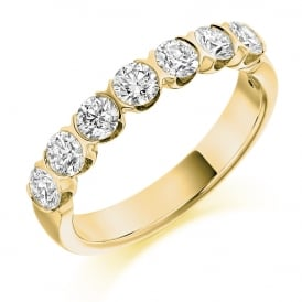 18ct Yellow Gold 1.00ct Brilliant Bar Set Diamond Ring
