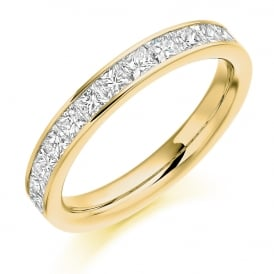 18ct Yellow Gold 1.00ct Princess Cut Diamond Ring