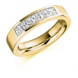18ct Yellow Gold 1.00ct Princess Cut Half Set Diamond Ring