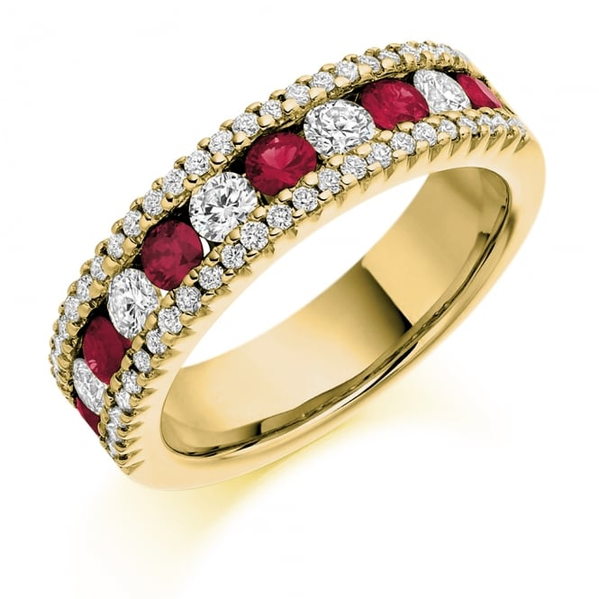 Lance James Wedding & Eternity 18ct Yellow Gold 1.53ct Ruby & Diamond Eternity Ring