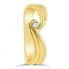 18ct Yellow Gold Diamond Wave Ring
