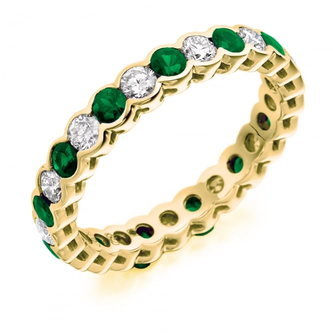 Lance James Wedding & Eternity 18ct Yellow Gold Fully Set 1.89ct Diamond & Emerald Eternity Ring