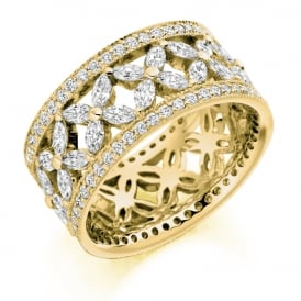 18ct Yellow Gold Fully Set Patterned 2.80ct Diamond Ring