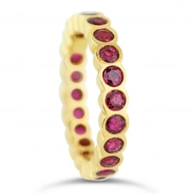 18ct Yellow Gold Fully Set Ruby Eternity Ring