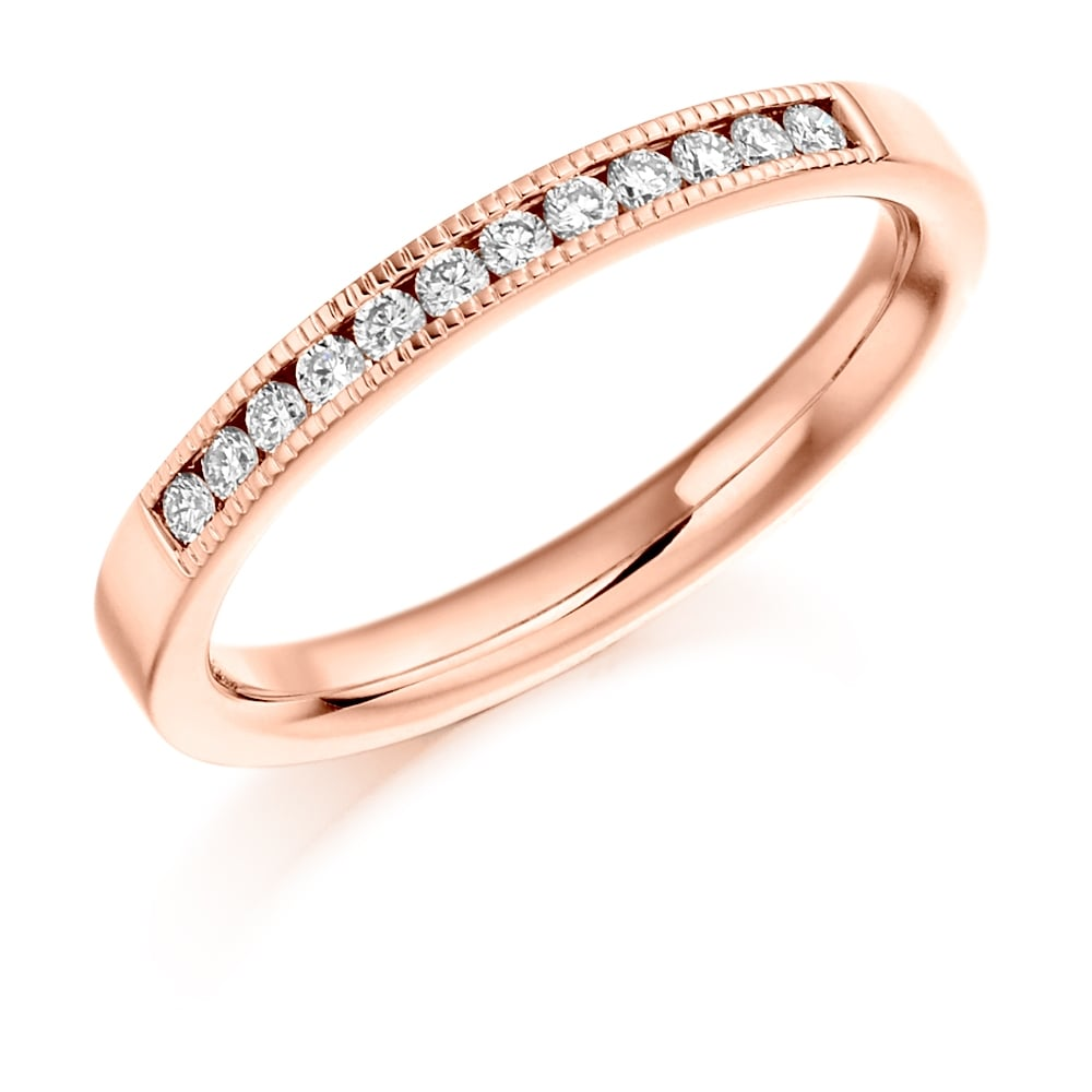 Lance James Wedding & Eternity 9ct Rose Gold 0 20ct Milgrain Edge Diamond  Wedding Ring