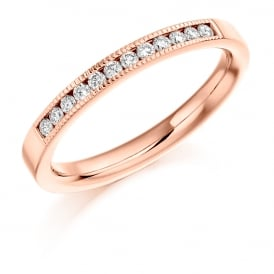 9ct Rose Gold 0.20ct Milgrain Edge Diamond Wedding Ring