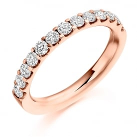 9ct Rose Gold 0.75ct Half Set Diamond Band