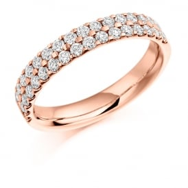 9ct Rose Gold 0.75ct Half Set Micro Claw Diamond Ring