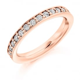 9ct Rose Gold 1.00ct Fully Diamond Set Grain Ring