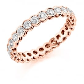 9ct Rose Gold Fully Set 1.50ct Rubover Diamond Ring