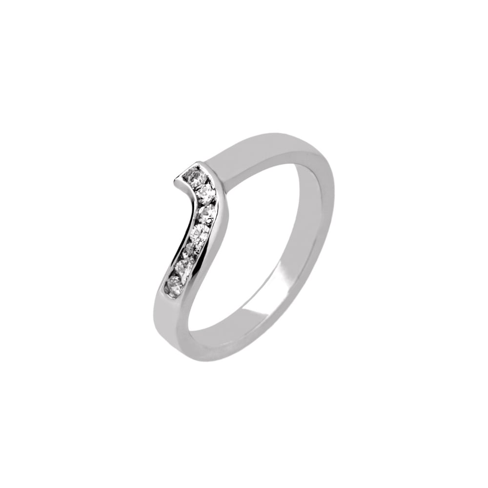 98a6398a378 9ct White Gold 0.14ct Diamond Set Shaped Wedding Ring