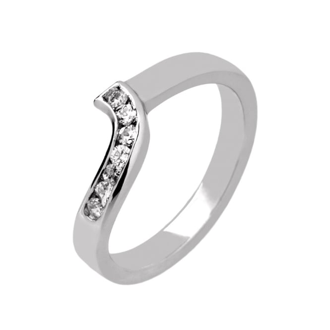 Lance James Wedding & Eternity 9ct White Gold 0.14ct Diamond Set Shaped Wedding Ring