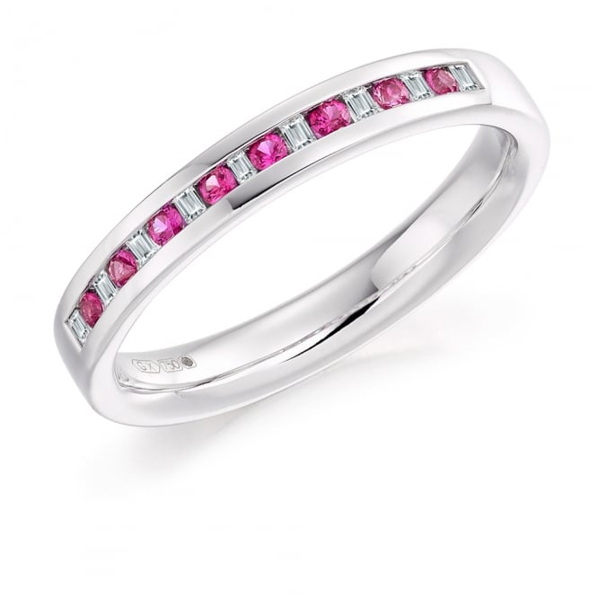 Lance James Wedding & Eternity 9ct White Gold 0.17ct Pink Sapphire & Diamond Eternity Ring
