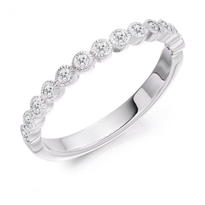 Lance James Wedding & Eternity 9ct White Gold 0.25ct Rubover Set Diamond Ring